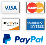We accept Visa, MasterCard, Discover, Amex, and PayPal